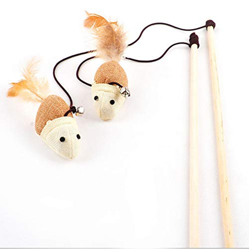 Kitten Play Interaction Toy - Funny Kitten Play Length Interaction Toy Cat Teaser Wand Assorted Linen Mouse Toy with Small Bell and Soft Feather - Multicolor Mice