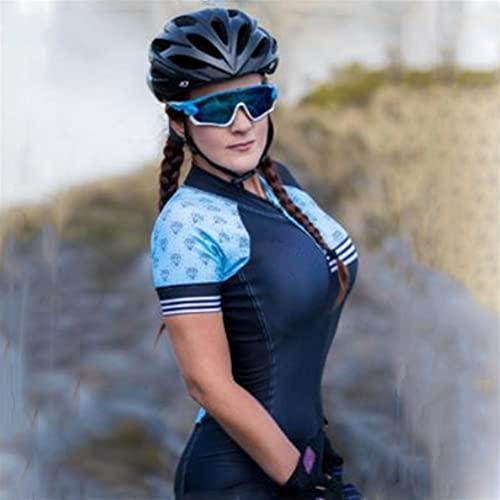 Frauen Radfahren Jersey Anzug Kurzarm Sportbekleidung Rennrad Mountainbike Jumpsuit Triathlon (Color : 2, Size : X-Large)