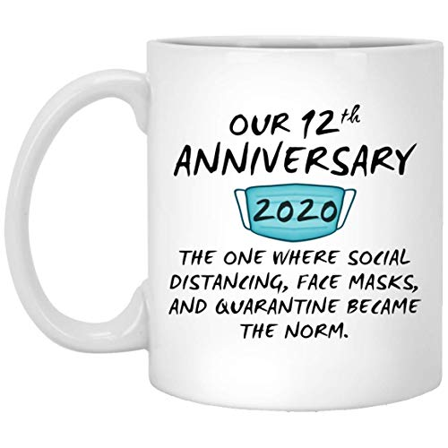 Happy 12Th Anniversary Mug Quarantine Couple Spouse For Him Her Husband Wife Wedding Gift 11oz