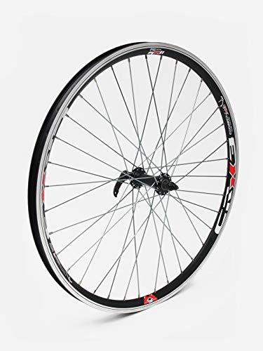 Crosser Rueda X-3, buje JoyTech cierre centralizado, solo para freno de disco, para todas las bicicletas de montaña y de fondo, radios plateados (26 pulgadas, rueda delantera JY753)