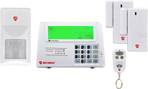 Red Shield WS-100 Funk-Alarmanlage Starter-Set mit Bewegungsmelder Sirene 2 Tür / Fenster-Kontakte 8 Zonen