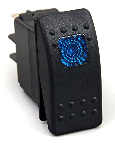 Amarine Made 12v 20 Amp Waterproof Blue LED On/Off Boat Marine SPST 3P Rocker Switch with Light