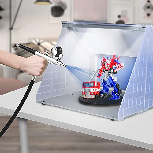 Kacsoo Kit de manguera de cabina de pintura con piezas de modelo de juguete de aerógrafo, mesa giratoria de cabina de pintura artesanal + luz + pistola de pulverización