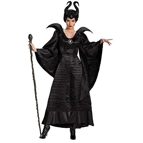 Xyfw Maléfica Vestido De Cosplay De Agarre Traje De Bruja Negra Marlene Nasty Dress Hat 2 Piezas,M