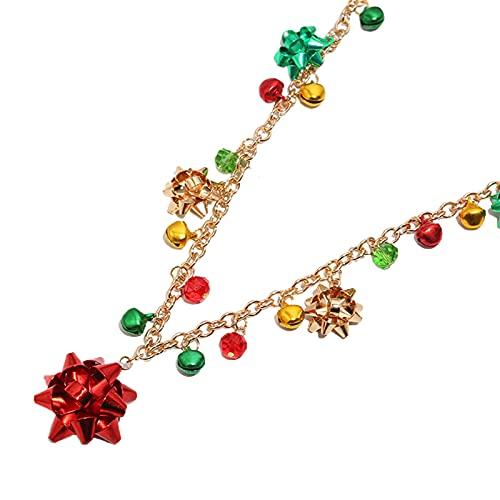 Bodhi2000 Collar de Navidad y pendientes de pulsera Set de gancho ligero y gargantilla, Aleación,