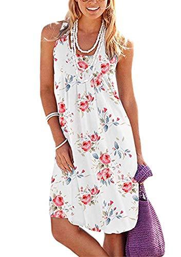 OMZIN Damen Casual Kleid Ärmellos Midi Sommer Kleid Faltenrock Locker Kleider Weiße Rose XL