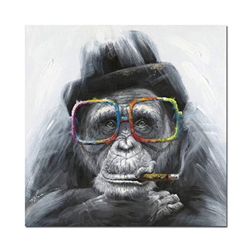 QUNAQ Leinwandbild, abstrakte Tierposter und Drucke, Rauchender Affe mit Brille, Wandbilder für Wohnzimmer, Heimdekoration, 40 x 40 cm, rahmenlos