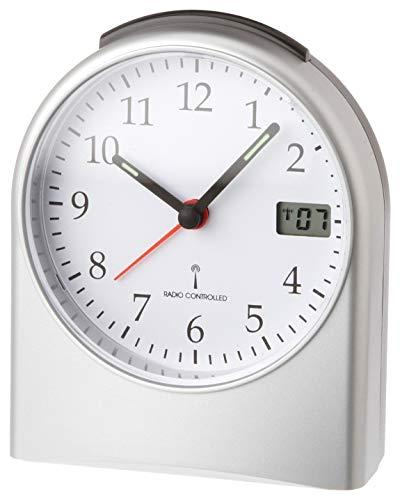 TFA Dostmann 98.1040.54 analoge wekker, met digitale secondenweergave, radioklok, met achtergrondverlichting, 6,8 x 11,5 x 15,2 cm, kunststof