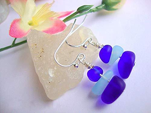 Cobalt Blue & Sky Blue Pebble Sea Glass.925 STERLING SILVER Dangle Earrings