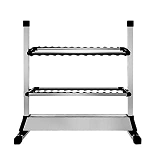 EASY BIG Fishing Rod Rack Fishing Rod Storage Rack for Garage, Holds Up 12 to 24 Rods (Silver/Black,24 Rods Rack)