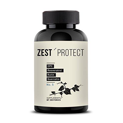 Zest'Protect OPC Traubenkernextrakt Kapseln -55gr OPC-Wirkstoff pro Dose: Spitzenwert - Clevere Kombination: OPC (465 mg - 95 Prozent) + Rutin, Quercetin und Resveratrol. 120 Kapseln im 4 Monatsvorrat