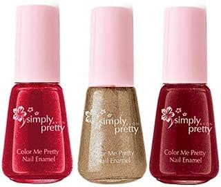 Avon Color Me Pretty Nail Enamel - (cherry red-champagne shimmer-cranberry) - 5 ml each