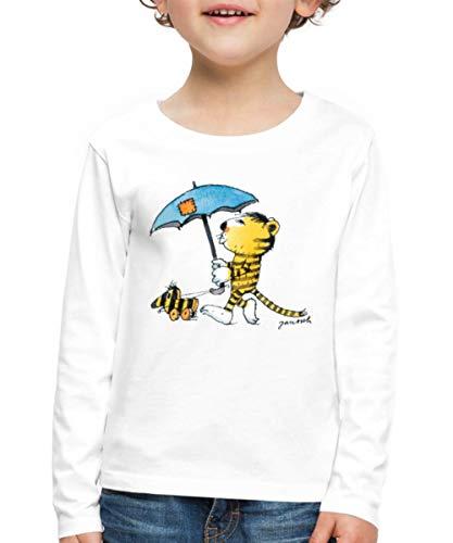 Janosch Kleiner Tiger Tigerente Mit Schirm Kinder Premium Langarmshirt, 98-104, Weiß