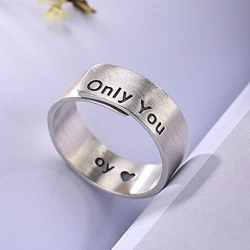 Luziang S925 reines Silber europäischen und amerikanischen Charakter einfachen Zeichnung weiblichen Buchstaben Ring-Romantisches Modedesign