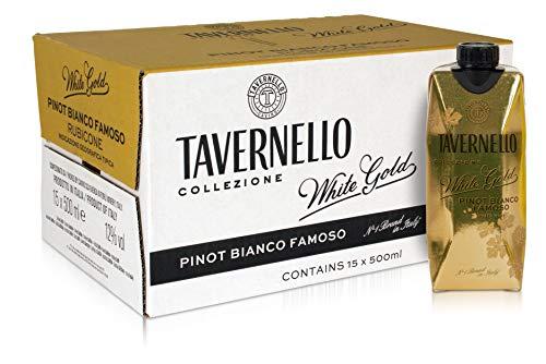 Tavernello White Gold - Vino Bianco Pinot Bianco Famoso Rubicone IGT - Confezione da 15 Brik da 500 ml