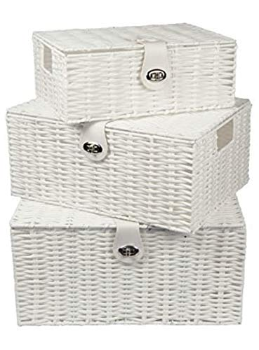 Home-ever Set of 3 Resin Woven Storage Basket Box With Lid (White) HE22
