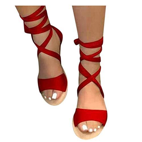 Vectry Damen Schuhe Frauen Sandalen Freizeitschuhe Schnüren Flache Schuhe Offene Zehen Binden Flache Schuhe Sommer Flache Sandalen Bequeme Schuhe Atmungsaktive Strandschuhe(Rot,37)