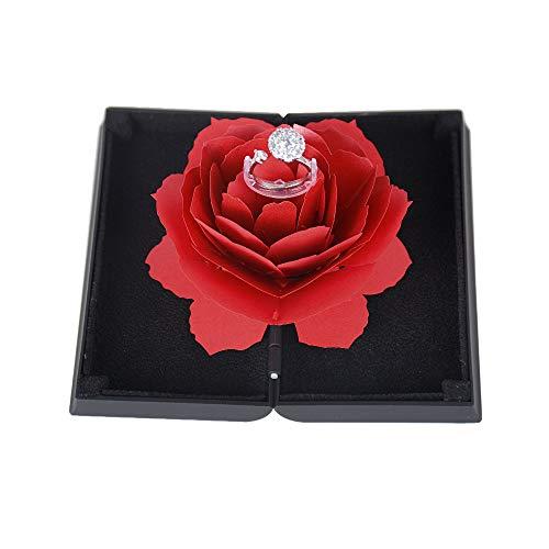 BUONDAC Scatola Porta Anello 3D Rosa Espositore Portagioie Anelli Scatolina Fidanzamento Valentine\'s Day Matrimonio Regalo Ring Box