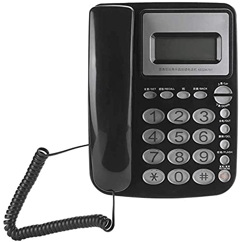 ZARTPMO Teléfono Fijo Fijo Teléfono con Botón De Cristal Clásico Teléfono Fijo Fijo Negocio Oficina En Casa (Negro)