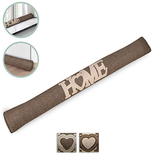 Beautissu Draught Excluder Tuuli HE 90 x 8 cm Draft Stopper Cushion for Doors/Windows Draft Guard Insulator Brown
