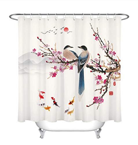 AdoDecor Chinesische Malerei Duschvorhänge Fisch Vogel Pflaume AST Zweig Duschvorhang Polyester Stoff Stoff Badezimmer Dekoration 180x180cm