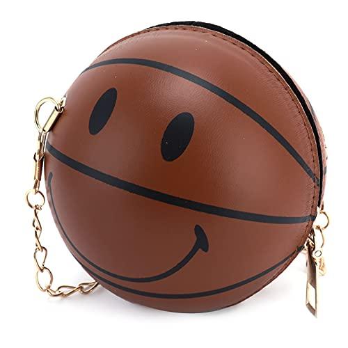 Mini bolso redondo de cuero PU con hombro, bolsos de hombro de bola pequeña de moda Bolso de hombro en forma de bola de bebé para niños para la escuela para exteriores(marrón)