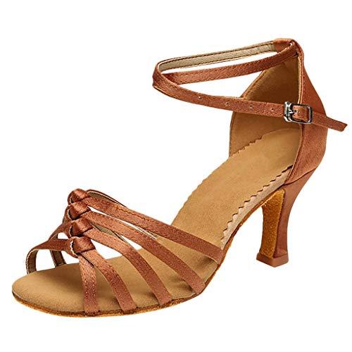 Lenfesh Damen Latein Tanzschuhe Flared Heel Wedding Sandalen Party Tango Dance Schuhe Oberbekleidung für Damen geknotete Latin-Tanzschuhe hochhackige Tanzschuhe