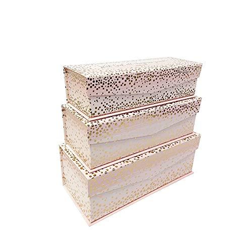Juego de 3 cajas de almacenamiento con tapa con bisagras de anidación, con God All Things Possible Contenedores de cartón apilables decorativos con cierres magnéticos de pestañas