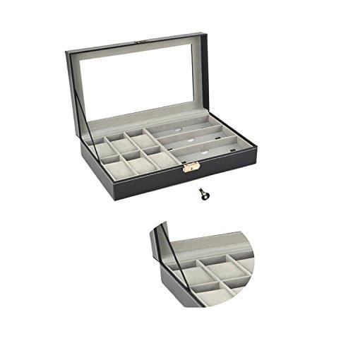Autoark Leather 6 Watch Box Jewelry Case and 3 Piece Eyeglasses Storage and Sunglass Glasses Display Case Organizer,Black,AW-004