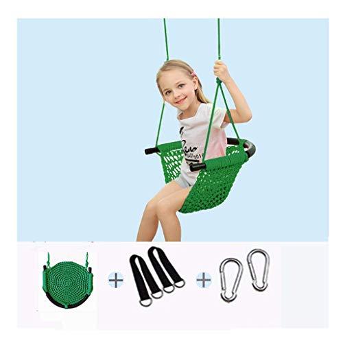 QULONG Columpio Asiento de Columpio para bebé con Respaldo Alto, Columpio para niños de Interior y Exterior Columpio para el hogar Silla Colgante Asiento de Cuerda de Red para niños Hamaca de jardí