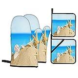 Juegos de Manoplas y Porta ollas para Horno,Playa de Cancún México Guantes de Cocina Resistentes al Calor para Hornear en la Cocina, Parrilla, Barbacoa,BBQ