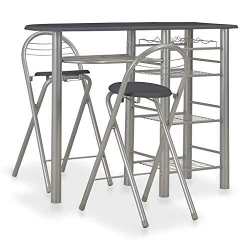 Tidyard Bartisch 3-teilige Barset Esstisch Stehtisch Bistrotisch Mit 2 Klappstühle Sitzgruppe,Tisch mit 4 Regalen und einem Weinregal,Bistroset Bargruppe Küchenbar aus Holz & Stahl,Schwarz+Silber