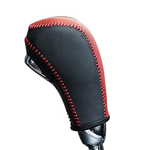 JI Loncky Black Genuine Leather Gear Shift Knob Cover for 2011 2012 2013 2014 2015 Chevrolet Cruze / 2007 2008 2009 2010 2011 Chevrolet Aveo Automatic Accessories (Black and Red Leather)