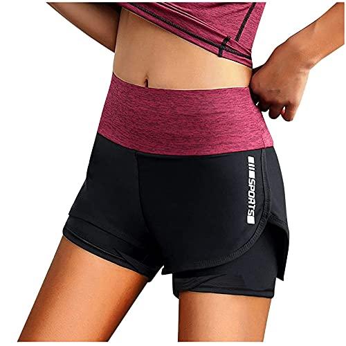 Pantalones Cortos Deportivos Mujer 2 en 1 Shorts de Deporte para Mujer Pantalón Corto Transpirables Pantalones Mujer Verano Casual Shorts Mujer Deportivos Ideal para Correr Gym Fitness