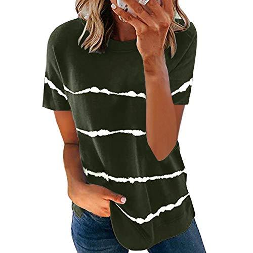 Ropa De Mujer Primavera Y Verano Mujer Tie-Dye Impreso Rayas Sueltas Camiseta De Manga Corta Tallas Grandes