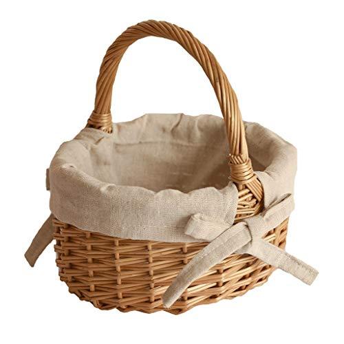 Wicker Bambus Körbe Picknickkörbe Hochwertige Rattankörbe Shopping Körbe Natürliche Hand Gewebt Ostern Korb (Color : Brown, Größe : 11 * 18 * 20CM)