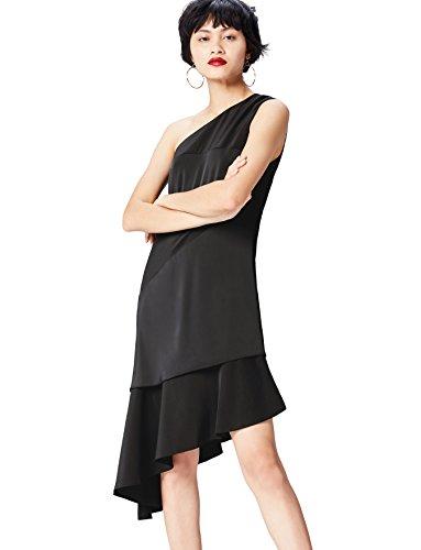 Amazon-Marke: find. Damen Midi-Kleid mit asymmetrischer Schulterpartie, Schwarz (Black), 34, Label: XS