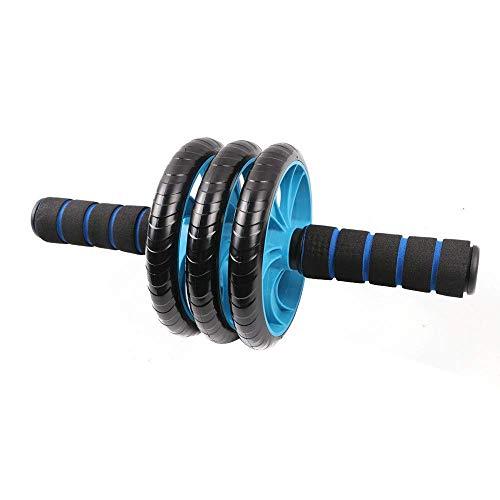 Jsmhh Abdominal Fitness-Rad-Bauch-Übung Roller 3 Runden von Silent Abdominal Fitness-Ausrüstung, mit Knieschützern sit up trainingsgert (Color : Blue)