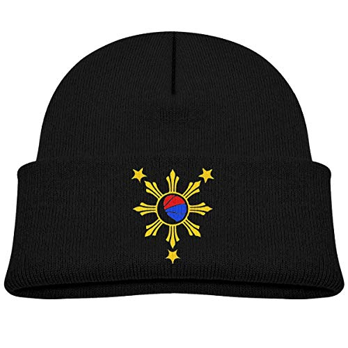 Beanie Beanie Bandera de Baloncesto Filipina Baby Boy Girl Cap Slouchy Cotton Kid Warm Skull Knit Hat Negro