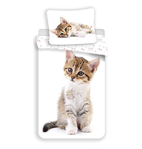 Unbekannt Bettwäsche Katzenbaby, Katzen Wendebettwäsche 100 % Baumwolle, 140 x 200 cm, 70 x 90 cm in Weiß