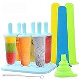 TedGem Eisformen, 6 Stück Eis am Stiel BPA Frei + 3 Stück Eislutscher Popsicle Formen + 1 Stück...