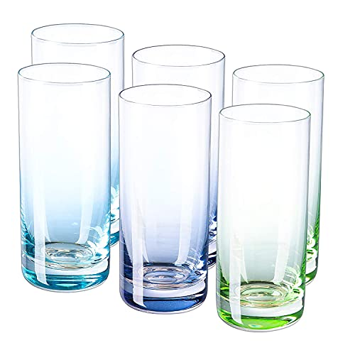 drinking glass for wine beers Vastto 13 Ounce Multicolor Highball Drinking Glass,Cylindrical Shape,for Water, Beverage,Juice, Wine,Beer and Cocktail,Set of 6 (Three Gradient Colors)