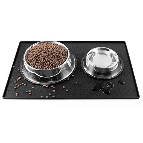 Coomazy Napfunterlage Hund, Silikon wasserdichtes Tischset für die Fütterung von Haustieren, um das Verschütten von Futter und Wasser auf dem Boden zu verhindern (60x40cm, Schwarz)