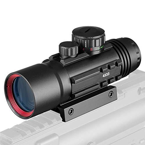 AJDGL Tactical Optical Sight 3x33mm - Green Red Dot Visier Zielfernrohr Passend für 11 / 20mm Rail Rifle Scopes für die Jagd