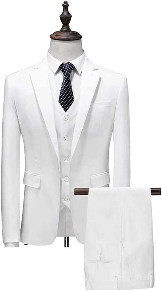 ZZABC Men's Business Suit Jacket Slim Shape Wedding Man Groom Tuxedo Suit (Color : White, Size : 5XL 86-92kg)