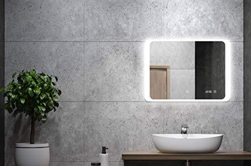 ALLDREI Badspiegel mit Licht Badezimmerspiegel mit Digitale Uhr, LED Beleuchtung, Touch Schalter