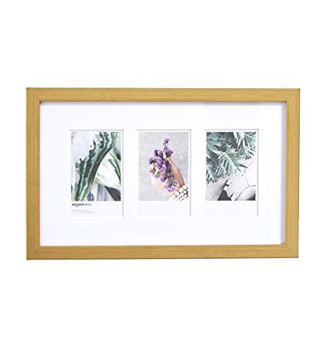 AmazonBasics - Marco de fotos de Instax, 3 huecos, 8 x 5 cm, efecto latón