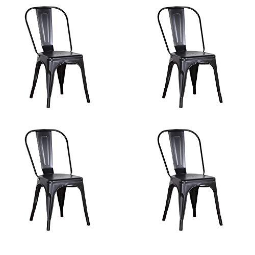 N / A Set di 4 sedie da Pranzo, Sedie Stile Industriale, Sedie in Metallo, Chaise Longue per Sala da Pranzo, Soggiorno, Piccolo Bar, Giardino (Nero)