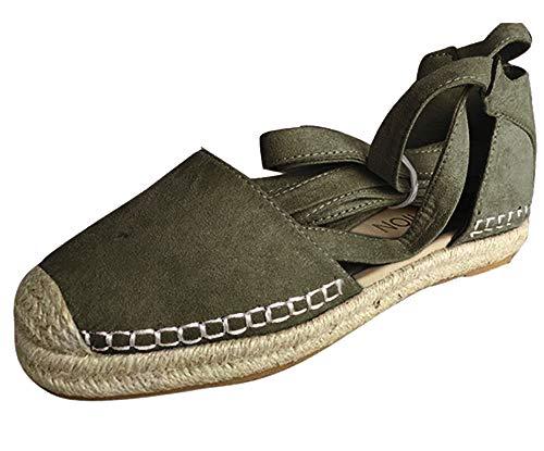 Damen Espadrilles mit Bändern zum Schnüren, Klassische Flache Sandalen Sommer Strand Elegante Sandaletten Schöne Sommerschuhe Celucke (Grün, EU40)