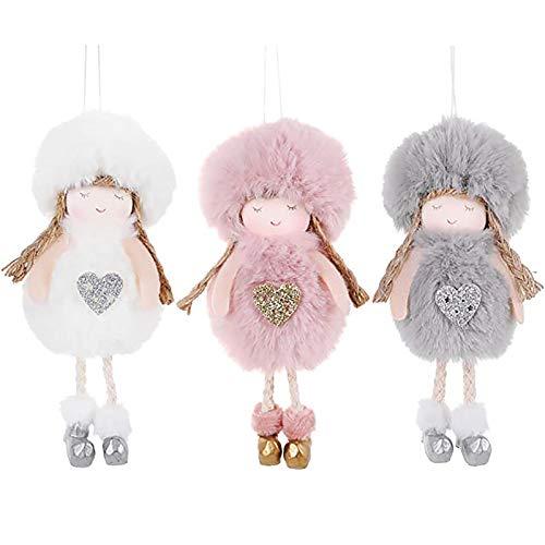 Chytaii 3 colgantes de ángel con forma de muñeca de peluche para colgar en el árbol de Navidad